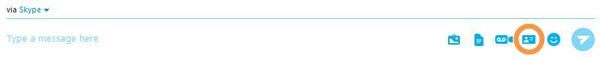 Icona Invia contatti selezionata dal menu visualizzata dopo aver fatto clic sul pulsante più.