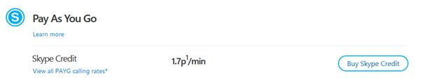 Vínculo Ver todas las tarifas de llamada de Paga a medida que hablas seleccionado en la página web de tarifas de Skype.