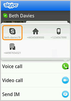 A Skype contact icon in the Voice call menu
