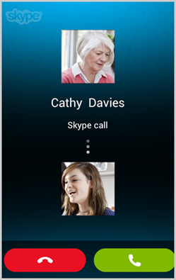 the incoming call notification screen