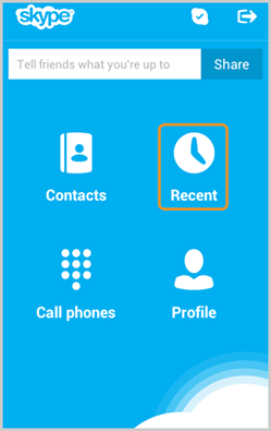 the Recent icon in the Skype home screen on an Android phone