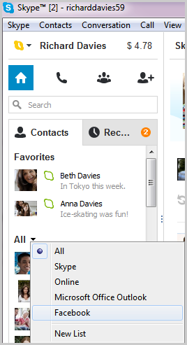 Facebook selected from the list displayed after clicking the arrow next to All in the Contacts tab.