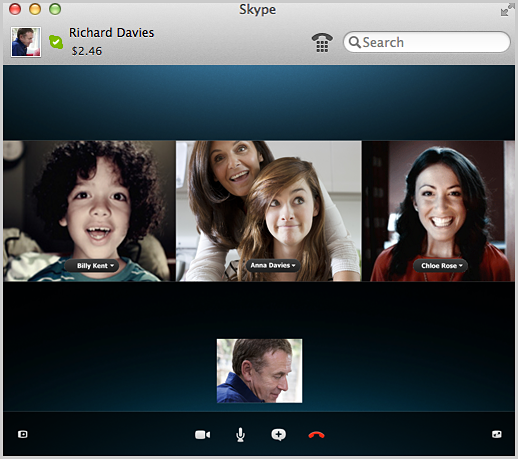 The group video call screen.