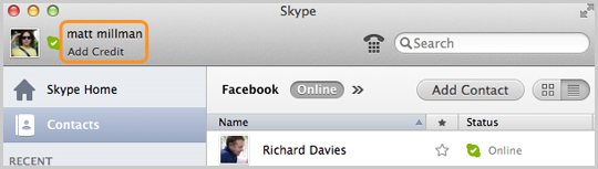 A contact's name and the Add Credit link in the main screen of the Skype application.