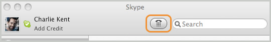 Screenshot of the dial pad button at the top of the Skype main screen