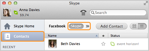 Skype and Contacts options selected