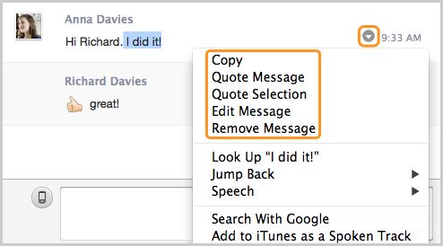 The Copy, Quote Message, Quote Selection, Edit Message and Remove Message options selected from the drop-down menu.