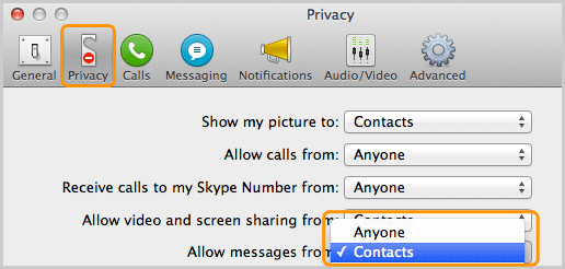The Contacts option selected from the Allow messages from drop-down list under Privacy settings.