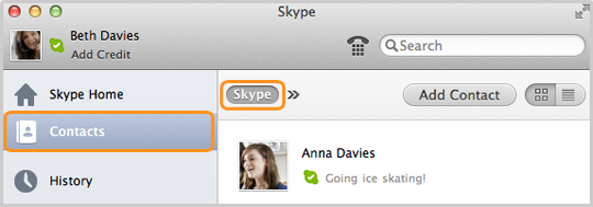 The Contacts tab selected in the sidebar and the Skype list selected in the contact list bar.