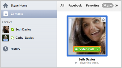 The Video Call button that appears after placing a cursor over a contact's profile picture.