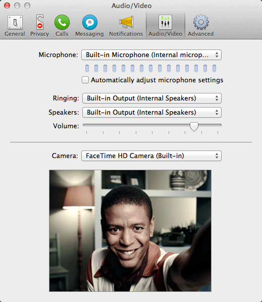 The Audio/Video Preferences window.