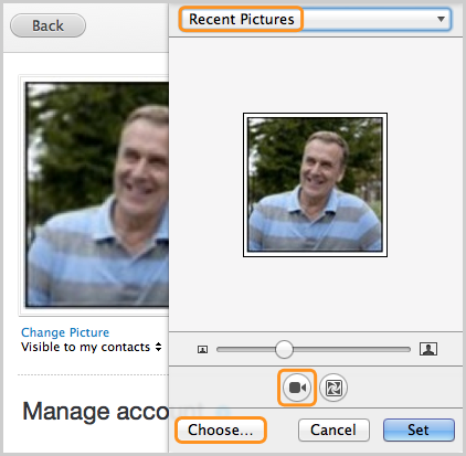The Recent Pictures drop-down menu, camera button and Choose… button selected in the picture editor window.