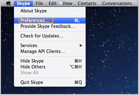 The Preferences option selected in the Skype menu.