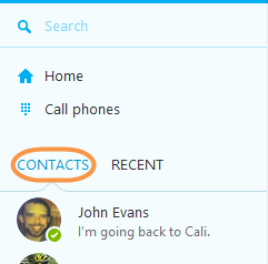 Contacts selected in the Skype main window.