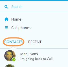 Im Hauptfenster von Skype ausgewählte Kontakte