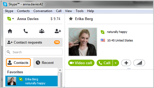 find skype contacts