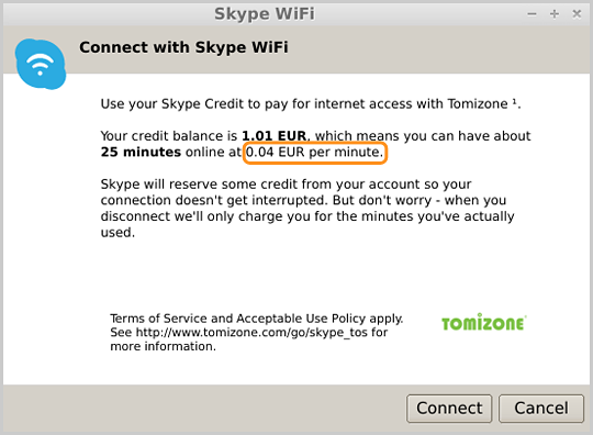 The Skype WiFi price per minute displayed when connected to a compatible WiFi hotspot.