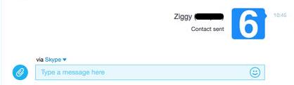 O contato Enviar para... a janela do Skype.