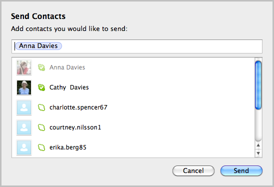 The contact you would like to send is displayed in the top field.