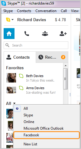 The Facebook option selected in the list displayed after clicking the arrow next to All in the Contacts tab.