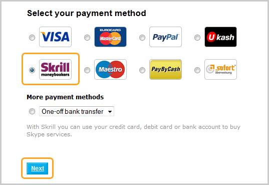Selecting 'Skrill' from various payment options, then clicking 'Next'.