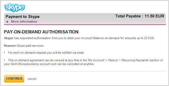 The Skrill's 'Pay-On-Demand Authorization' screen for payments to Skype.