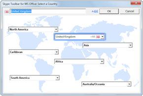 Ventana Skype Toolbar for MS Office: selecciona un país (Skype Toolbar for MS Office: Select a country).