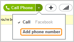 The Add phone number option selected from the menu displayed.