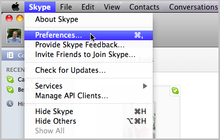 Preferences selected under Skype