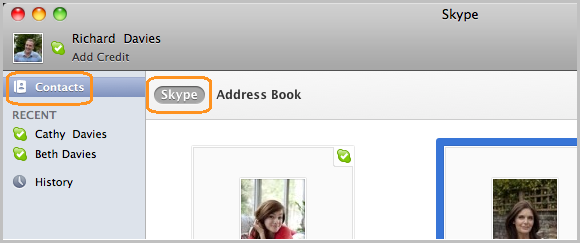 Navigate to Skype contact list