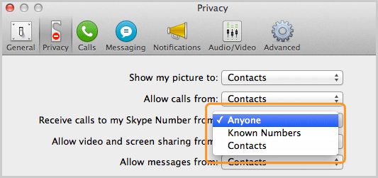 Privacy panel with the option Anyone selected from the list next to Receive calls to my Skype Number from