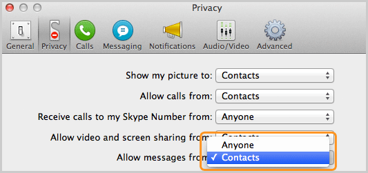 Privacy panel with the Contacts option selected from the list next to Allow messages from