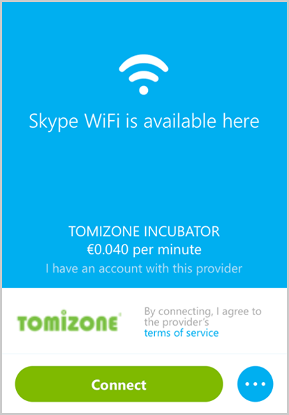 "The main Skype WiFi window with the ""I have an account with this provider"" and ""Connect"" buttons."