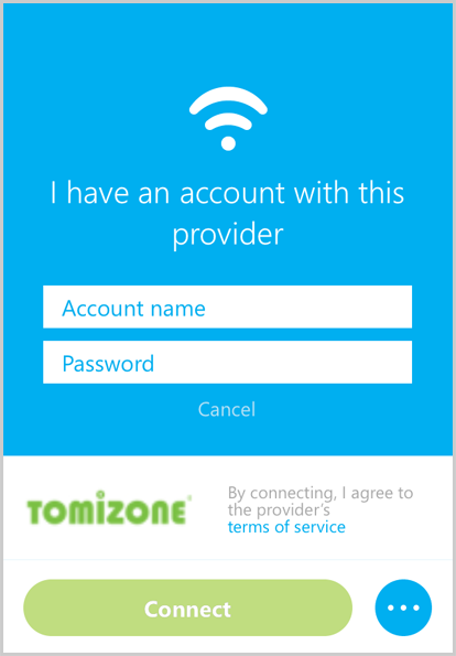 "The ""I have an account with this provider"" screen with the fields to enter your account name and password and the ""Connect"" button to be selected."