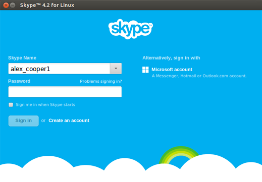 The Skype name added to the drop-down list on the Skype sign-in screen.
