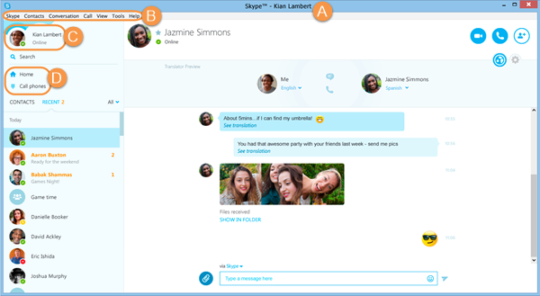 The Skype Name, menu bar, status bar and Skype toolbar in the Skype main window.