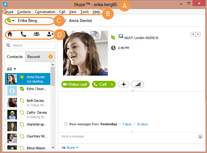 The Skype Name, menu bar, status bar and Skype toolbar in the Skype main window.