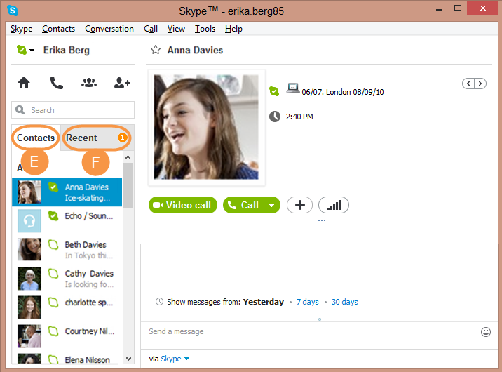 Contacts and Recent selected in the Skype main window