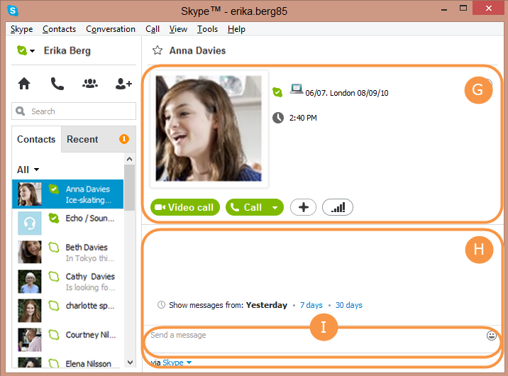 Contact summary, conversation window and  conversation box selected in the Skype main windowetails and the conversation box bellow it.
