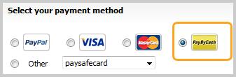 Opção PayByCash selecionada nas opções de pagamento.