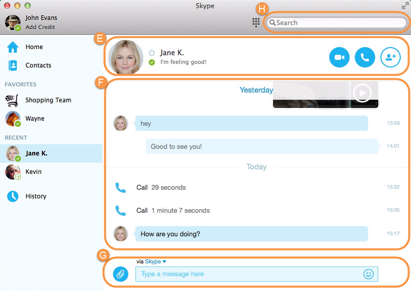 Skype main window