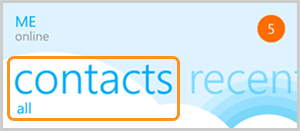 Contacts tab selected