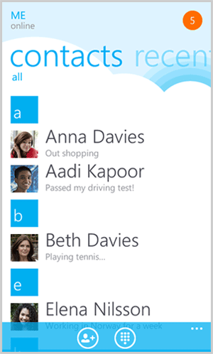 Skype contact list