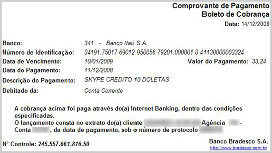 A Proof of payment through online banking