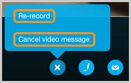 Options de réenregistrement ou d'annulation du message vidéo enregistré.