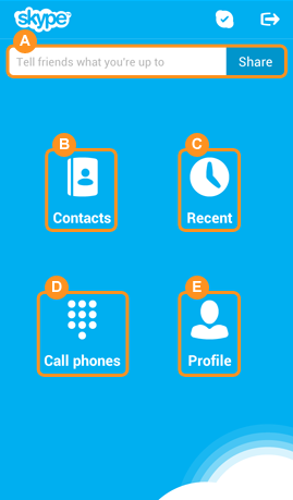 The Skype home screen with the Mood message fill-in field and the Contacts, Recent, Call phones and Profile icons displayed.