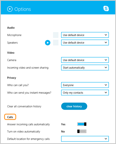 Calls section selected under Options