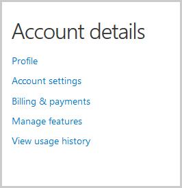 Fenêtre Account details (Détails du compte) avec les options à sélectionner pour afficher et modifier les détails de votre compte