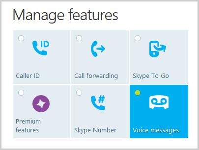 Fenêtre Manage features (Gérer les fonctionnalités) affichée