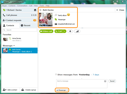 A Messenger contact displayed in the Skype contact list.